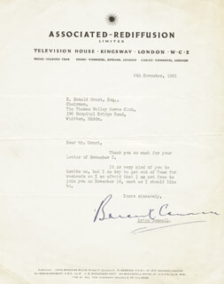 BRIAN CONNELL - TYPED LETTER SIGNED 11/06/1961