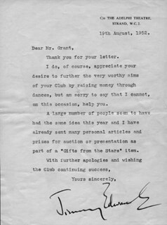 JIMMY EDWARDS - TYPED LETTER SIGNED 08/19/1952