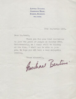 Autographs: MICHAEL BENTINE - TYPED LETTER SIGNED 09/22/1965