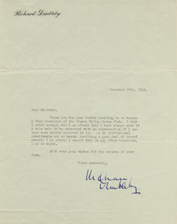 RICHARD DIMBLEBY - TYPED LETTER SIGNED 12/18/1963