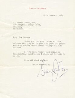 DAVID JACOBS - TYPED LETTER SIGNED 10/14/1965