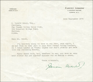 Autographs: EAMONN ANDREWS - TYPED LETTER SIGNED 09/16/1970