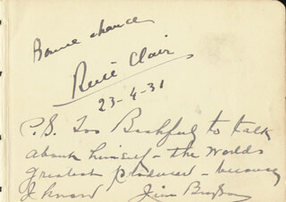 RENE CLAIR - AUTOGRAPH SENTIMENT SIGNED 04/23/1931 CO-SIGNED BY: JAMES JIM BRYSON, JIMMY NERVO