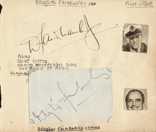 DOUGLAS FAIRBANKS SR. - AUTOGRAPH CO-SIGNED BY: DOUGLAS FAIRBANKS JR.