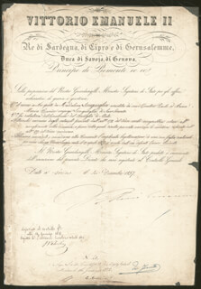 Autographs: KING VICTOR EMMANUEL II (ITALY) - CIVIL APPOINTMENT SIGNED 12/06/1857
