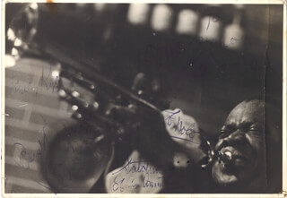 Autographs: LOUIS SATCHMO ARMSTRONG - INSCRIBED PHOTOGRAPH SIGNED CIRCA 1958
