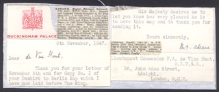 Autographs: LT. COLONEL MICHAEL EDWARD BARON ADEANE ADEANE - TYPED LETTER SIGNED 11/06/1947