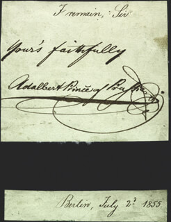 PRINCE ADALBERT (PRUSSIA) - AUTOGRAPH SENTIMENT SIGNED 07/02/1855