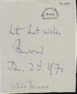 GEORGE (7TH EARL OF HAREWOOD) LASCELLES - AUTOGRAPH SENTIMENT SIGNED 01/02/1970 CO-SIGNED BY: PATRICIA (COUNTESS OF HAREWOOD) LASCELLES