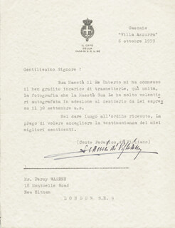 Autographs: COUNT FEDERICO AVOGARDO DI VIGLIANO - TYPED LETTER SIGNED 10/06/1959