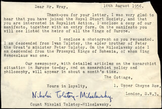 COUNT NIKOLAI TOLSTOY - TYPED LETTER SIGNED 08/18/1956