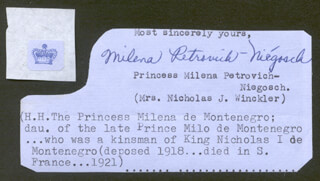 Autographs: PRINCESS MILENA (VUGOTIC) PETROVICH-NIEGOSCH - TYPED SENTIMENT SIGNED