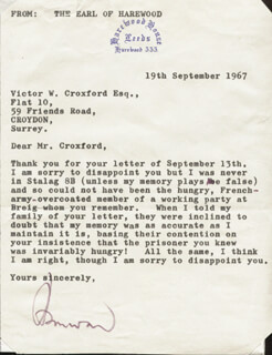 GEORGE (7TH EARL OF HAREWOOD) LASCELLES - TYPED LETTER SIGNED 09/19/1967