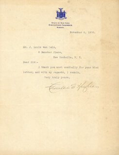 CHIEF JUSTICE CHARLES E HUGHES - TYPED LETTER SIGNED 11/06/1908