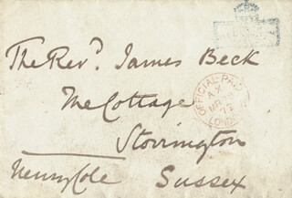 SIR HENRY COLE - AUTOGRAPH ENVELOPE SIGNED 03/28/1872