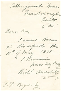 RICHARD ANSDELL - AUTOGRAPH LETTER SIGNED 12/4