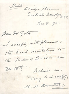 HENRY HUGH ARMSTEAD - AUTOGRAPH LETTER SIGNED 12/08/1890