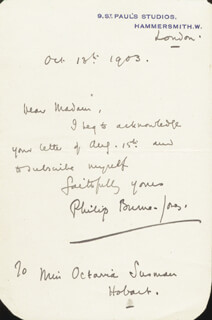PHILIP BURNE-JONES - AUTOGRAPH LETTER SIGNED 10/13/1903