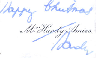 HARDY AMIES - AUTOGRAPH SENTIMENT ON CALLING CARD SIGNED