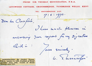 WALTER THOMAS MONNINGTON - AUTOGRAPH NOTE SIGNED 06/17/1972