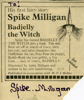 SPIKE (TERENCE) MILLIGAN - ADVERTISEMENT SIGNED