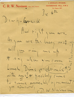 CHRISTOPHER R.W. NEVINSON - AUTOGRAPH LETTER SIGNED 12/4