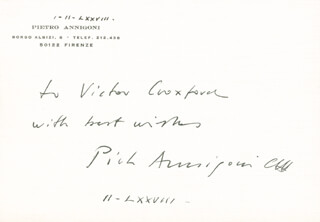 PIETRO ANNIGONI - INSCRIBED SIGNATURE 11/1978