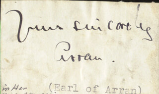 Autographs: ARTHUR (8TH EARL OF ARRAN) GORE - AUTOGRAPH SENTIMENT SIGNED
