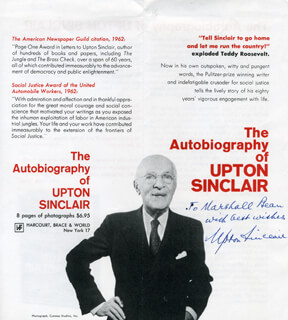 Autographs: UPTON SINCLAIR - INSCRIBED PAMPHLET SIGNED