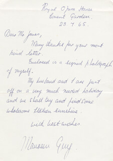 MAUREEN GUY - AUTOGRAPH LETTER SIGNED 07/23/1965