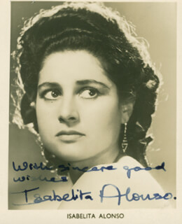 Autographs: ISABELITA ALONSO - PRINTED PHOTOGRAPH SIGNED IN INK