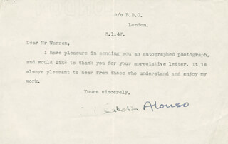 Autographs: ISABELITA ALONSO - TYPED LETTER SIGNED 01/03/1947