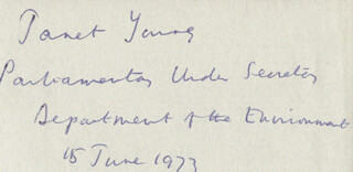 JANET YOUNG - AUTOGRAPH 06/15/1973