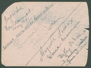 HAL SWAIN - AUTOGRAPH SENTIMENT SIGNED CIRCA 1941 CO-SIGNED BY: KEN BEAUMONT, MARJORIE LOMAX, DONNA BRANNAN, HETTY BLAINE