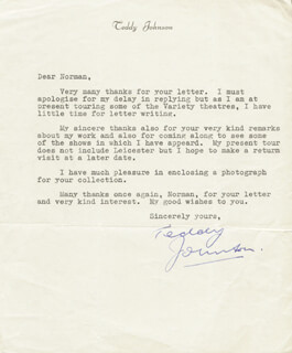 TEDDY JOHNSON - TYPED LETTER SIGNED