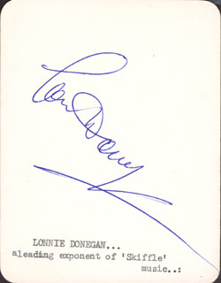 LONNIE DONEGAN - PRINTED CARD SIGNED IN INK