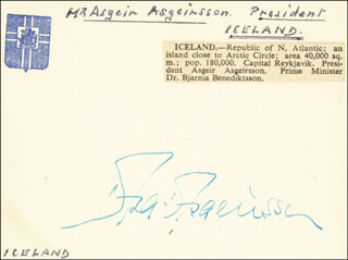 Autographs: PRESIDENT ASGEIR ASGEIRSSON (ICELAND) - SIGNATURE(S)