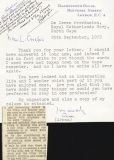 Autographs: ARTHUR (8TH EARL OF ARRAN) GORE - TYPED LETTER SIGNED 09/25/1972