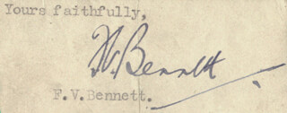 F. V. BENNETT - TYPED SENTIMENT SIGNED
