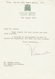 DAVID ENNALS - TYPED LETTER SIGNED 08/04/1975
