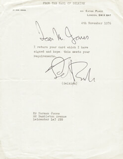 GEORGE (EARL OF SELKIRK X) DOUGLAS-HAMILTON - TYPED NOTE SIGNED 11/04/1976
