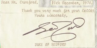 Autographs: IAN (DUKE OF BEDFORD XIII) RUSSELL - TYPED NOTE SIGNED 12/11/1970