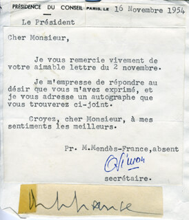 PRIME MINISTER PIERRE MENDES-FRANCE - CLIPPED SIGNATURE 11/16/1954