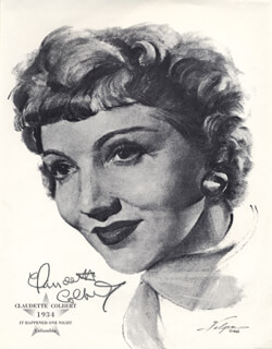CLAUDETTE COLBERT - PRINTED ILLUSTRATION SIGNED IN INK
