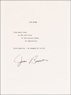 JIM BROWN - TYPED STATEMENT SIGNED