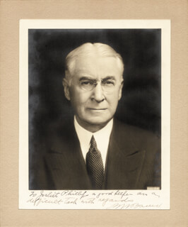 BERNARD M. BARUCH - AUTOGRAPHED INSCRIBED PHOTOGRAPH