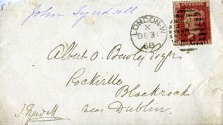 JOHN TYNDALL - AUTOGRAPH ENVELOPE SIGNED 12/31/1868