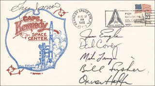 GREG JARVIS - COMMEMORATIVE ENVELOPE SIGNED CO-SIGNED BY: COLONEL RICHARD DICK COVEY, MIKE (JOHN M.) LOUNGE, WILLIAM FISHER, MAJOR GENERAL JOE ENGLE, JAMES D. A. VAN HOFTEN