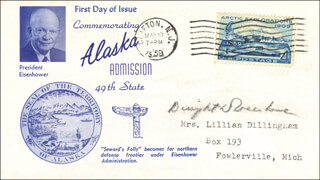 PRESIDENT DWIGHT D. EISENHOWER - FIRST DAY COVER SIGNED