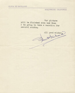 OLIVIA DE HAVILLAND - TYPED LETTER SIGNED 08/21/1945
